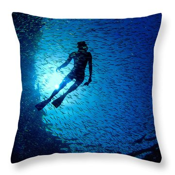 Snorkeler Throw Pillow