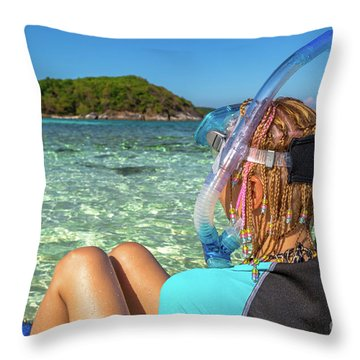 Snorkeler Relaxing On Tropical Beach Throw Pillow