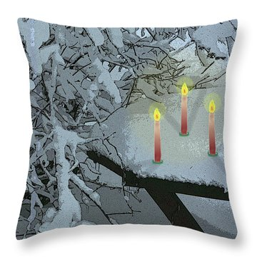 Snow And Candlelight Throw Pillow