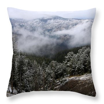 Snow And Clouds In The Mountains Throw Pillow by Larry Ricker