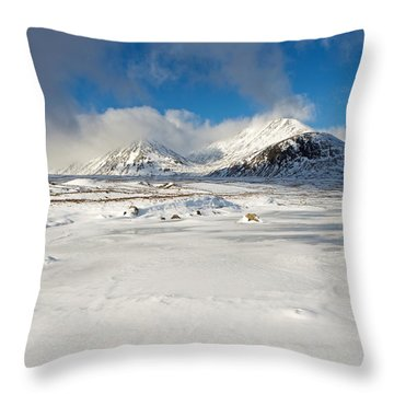 Snow And Ice In Rannoch Moor Throw Pillow