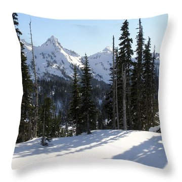 Snow And Shadows On The Mountain Throw Pillow by Jane Eleanor Nicholas