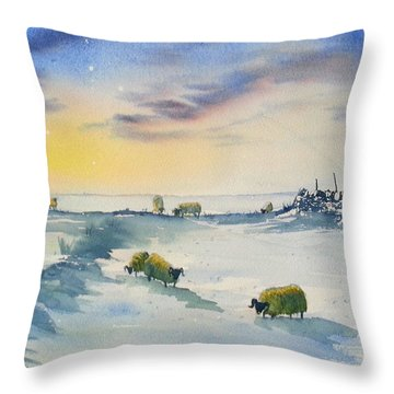 Snow And Sheep On The Moors Throw Pillow