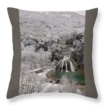 Snow And Turner Falls 2 Throw Pillow