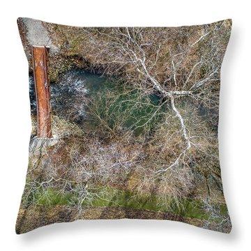 Snow Around The Creek Throw Pillow