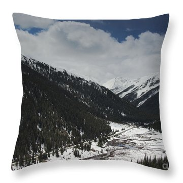Snow At Independence Pass Colorado Highway 82 Throw Pillow