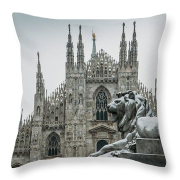 Snow At Milan's Duomo Cathedral  Throw Pillow