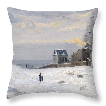 Snow At Montmartre Throw Pillow by Hippolyte Camille Delpy
