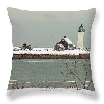 Snow At Scituate Lighthouse Throw Pillow
