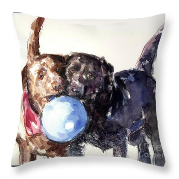 Snow Ball Throw Pillow by Molly Poole