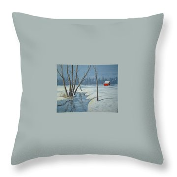 Snow Barn Throw Pillow