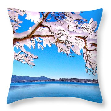 Snow Branch Smith Mountain Lake Throw Pillow