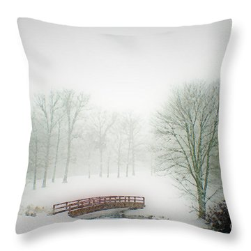 Snow Bridge Throw Pillow