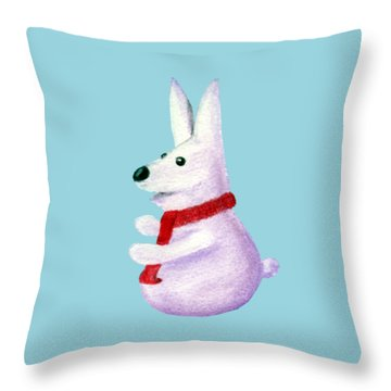 Snow Bunny Throw Pillow by Anastasiya Malakhova
