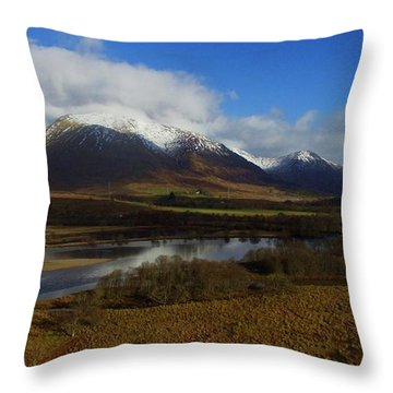 Snow Cap Mountains Throw Pillow