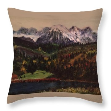 Snow Caped Mountain Throw Pillow