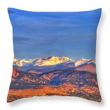 Snow-capped Panorama Of The Rockies Throw Pillow by Scott Mahon