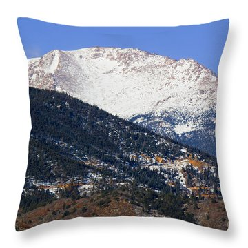 Snow Capped Pikes Peak In Winter Throw Pillow