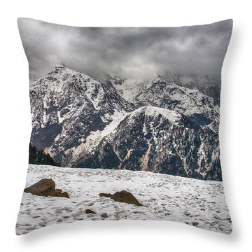 Throw Pillow featuring the photograph Snow Capped Triund Hill by Yew Kwang