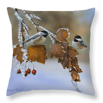 Snow Chickadees Throw Pillow
