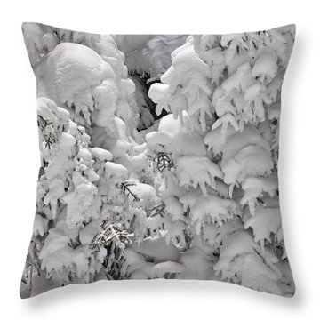 Throw Pillow featuring the photograph Snow Coat by Alex Grichenko