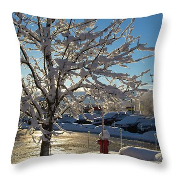 Snow-coated Tree Throw Pillow
