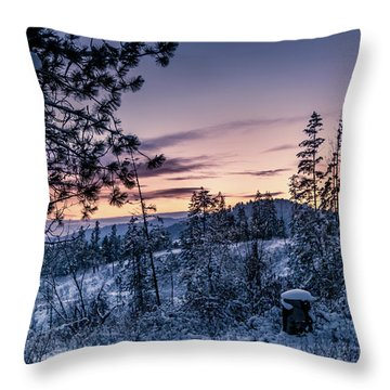 Snow Coved Trees And Sunset Throw Pillow