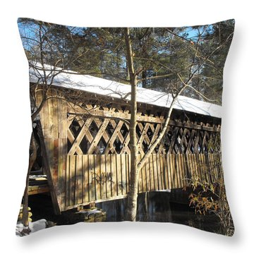Snow Covered Bridge Throw Pillow