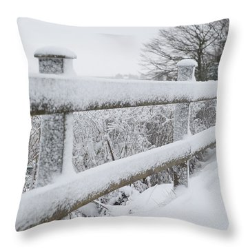 Snow Covered Fence Throw Pillow by Helen Northcott