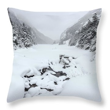 Snow Covered Lake Throw Pillow