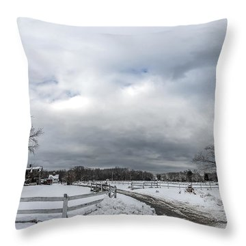 Snow Covered Maryland Stable In Winter Throw Pillow