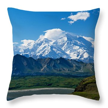 Snow-covered Mount Mckinley, Blue Sky Throw Pillow