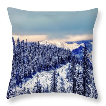 Snow Covered Mountains Throw Pillow