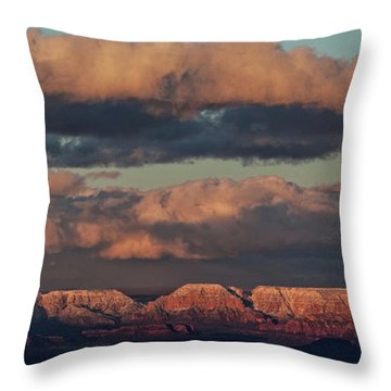 Snow Covered Red Rock Panorama Throw Pillow