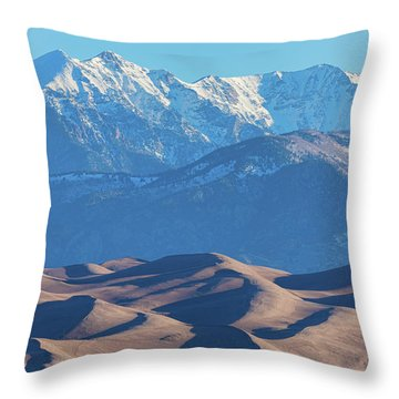 Snow Covered Rocky Mountain Peaks With Sand Dunes Throw Pillow by James BO Insogna