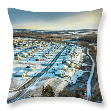 Throw Pillow featuring the photograph Snow Covered Subdivision by Randy Scherkenbach
