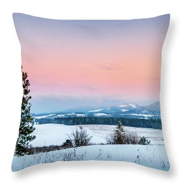 Snow Covered Valley Throw Pillow