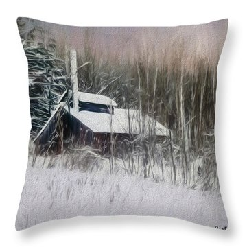 Snow Covered Vermont Sugar Shack.  Throw Pillow