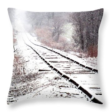 Snow Covered Wisconsin Railroad Tracks Throw Pillow