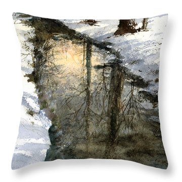 Snow Creek Throw Pillow by Andrew King
