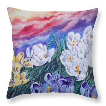 Flygende Lammet Productions      Snow Crocus Throw Pillow
