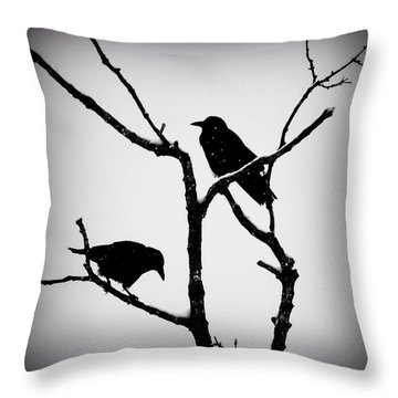 Snow Crows Throw Pillow