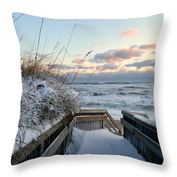 Snow Day At The Beach Throw Pillow
