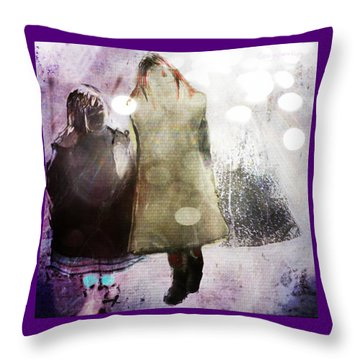 Throw Pillow featuring the digital art Snow Day by Delight Worthyn