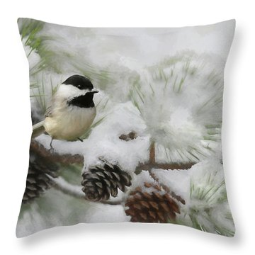 Throw Pillow featuring the photograph Snow Day by Lori Deiter