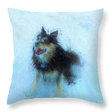 Snow Dog  Throw Pillow by Claire Bull