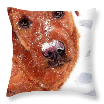 Snow Dog Throw Pillow