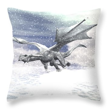 Snow Dragon Throw Pillow by Michele Wilson
