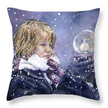 Snow Dreaming Throw Pillow by Leslie Redhead