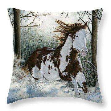 Snow Driftin', Pastel Throw Pillow